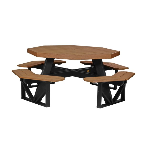 Octagon Picnic Table - Antique Mahogany & Black