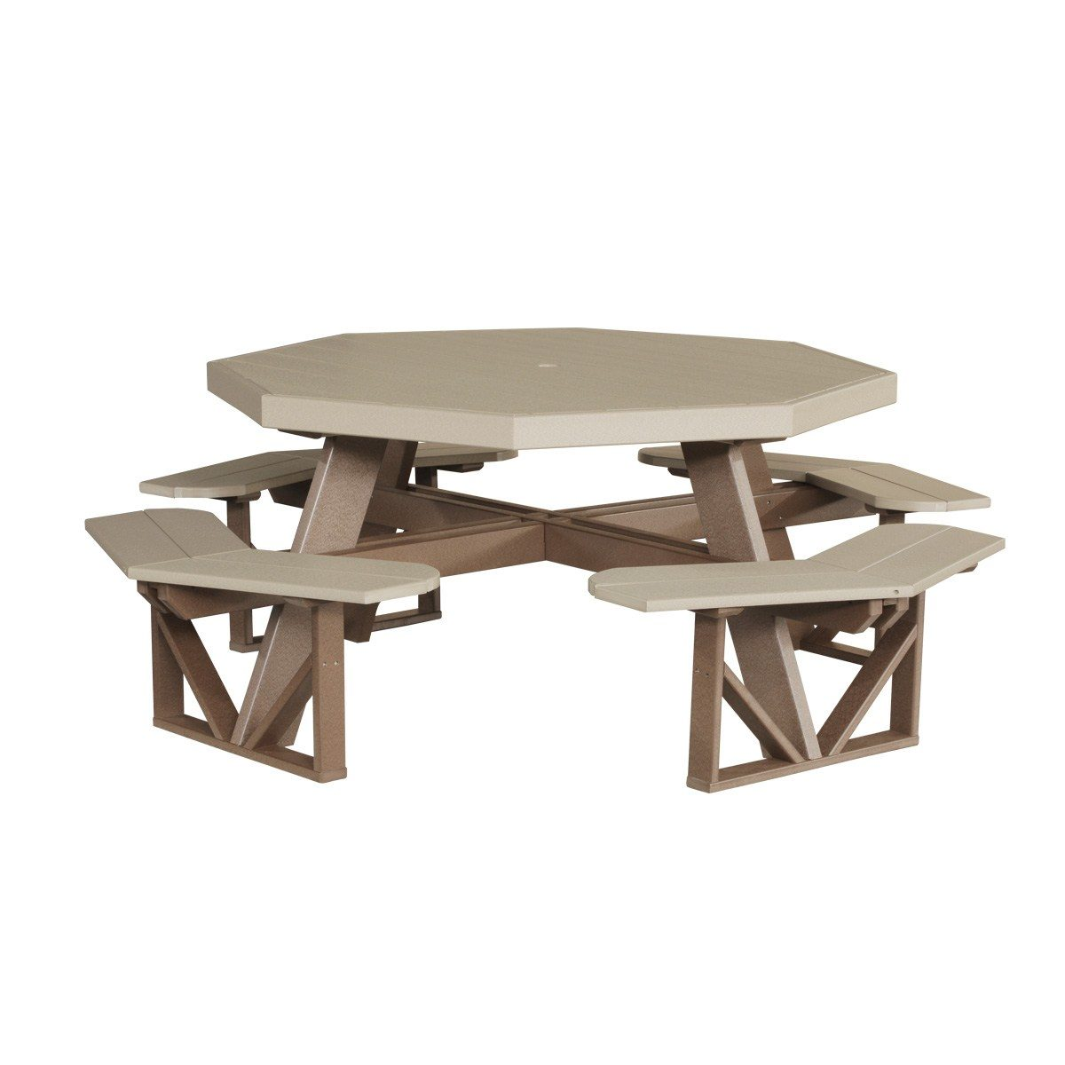 Octagon Picnic Table - Weatherwood & Brown