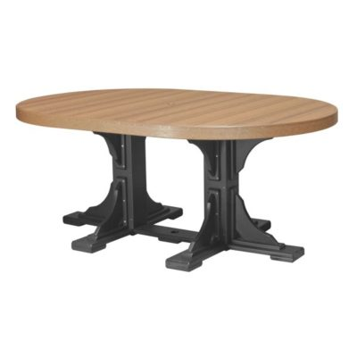 Oval Dining Table - Antique Mahogany & Black (Counter Height Shown)