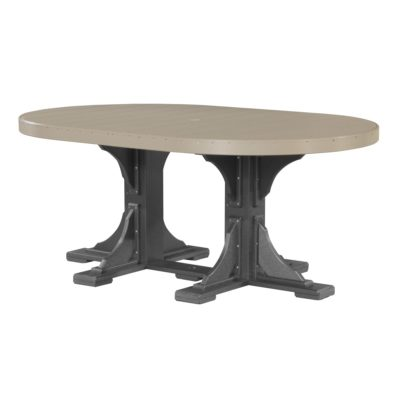 Oval Bar Table - Weatherwood & Black (Counter Height Shown)