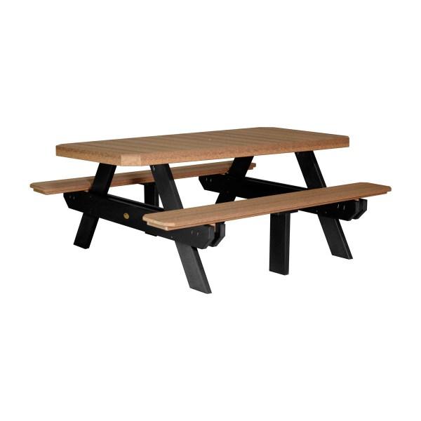 Rectangular Picnic Table - Antique Mahogany & Black