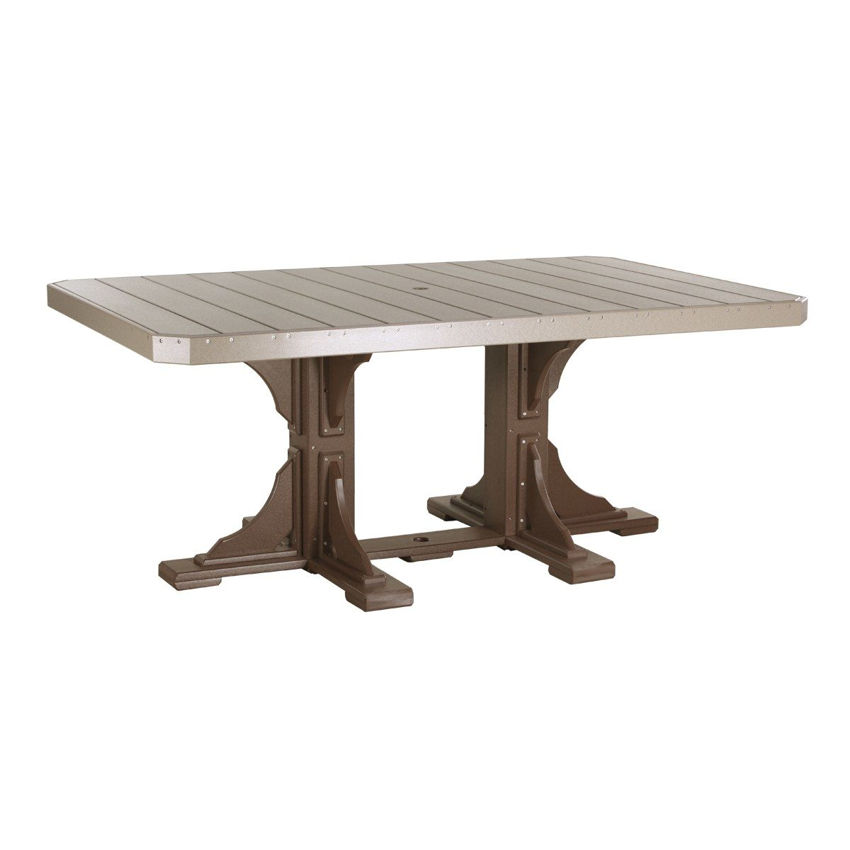 Rectangular Counter Table - Weatherwood & Chestnut Brown (Dining Height Shown)