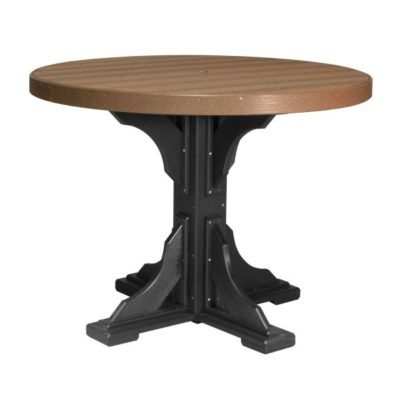 Round Counter Table (Dining Height Shown) - Antique Mahogany & Black