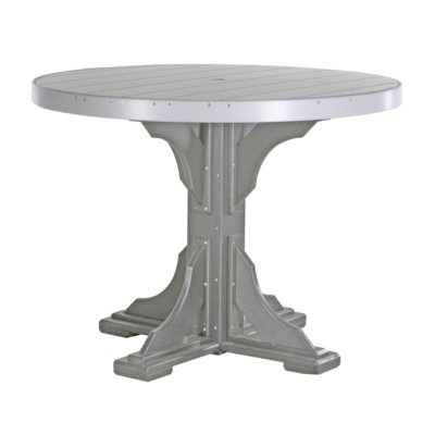 Round Bar Table (Dining Height Shown) - Dove Gray & Slate