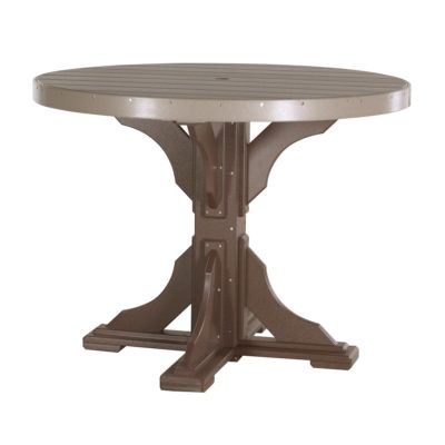 Round Bar Table (Dining Height Shown) - Weatherwood & Brown
