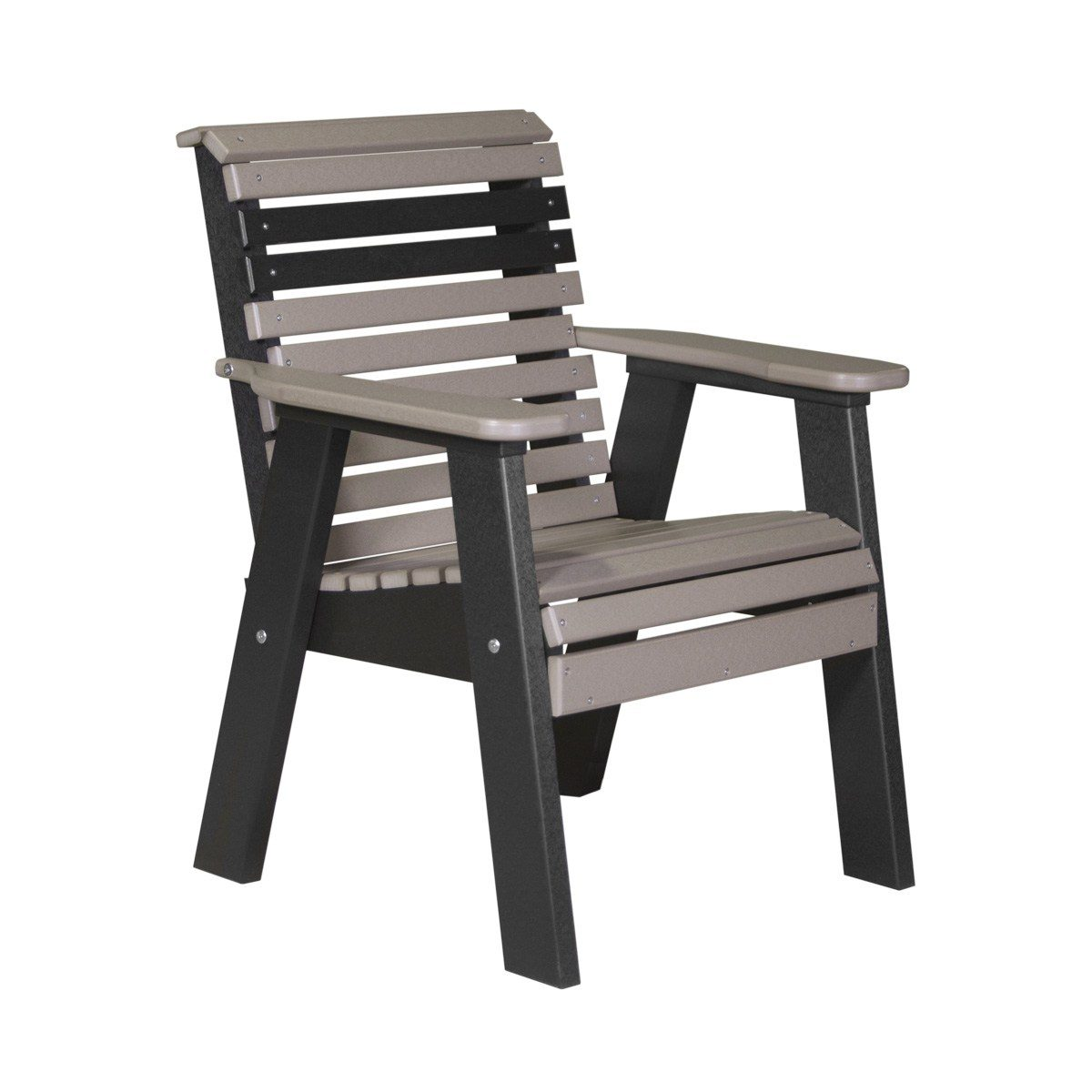 Single Plain Bench - Weatherwood & Black
