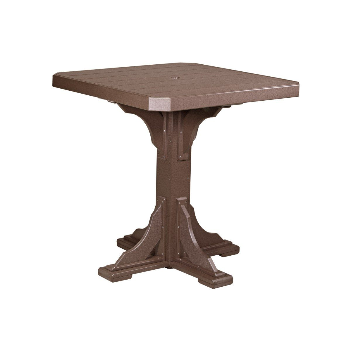 Square Bar Table (Bar Height Shown) - Chestnut Brown