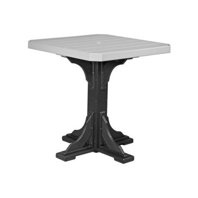 Square Dining Table (Bar Height Shown) - Dove Gray & Black