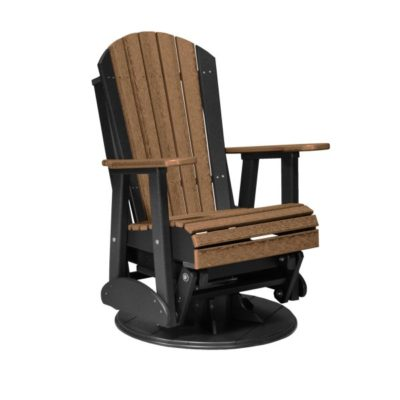 Adirondack Swivel Glider - Antique Mahogany & Black