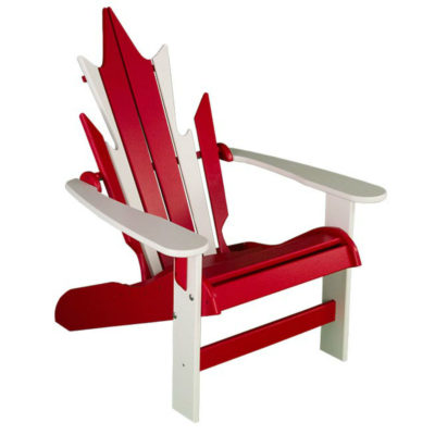 Maple Leaf Muskoka Chair - Deep Red & White
