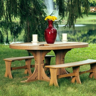 Oval 5-Piece Bench Dining Set