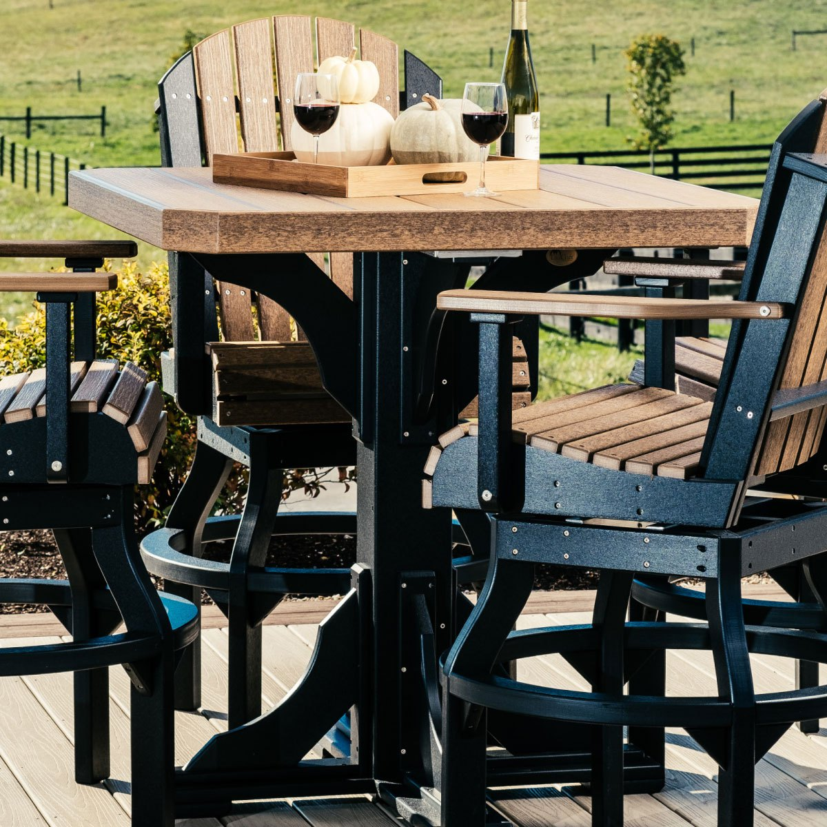Picture of: Square 5 Piece Swivel Bar Set Recycled Patio