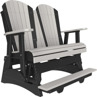 Double Adirondack Balcony Glider - Dove Grey & Black